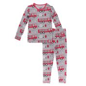 KICKEE PANTS PRINT LONG SLEEVE PAJAMA SET FEATHER FIRE FIGHTER