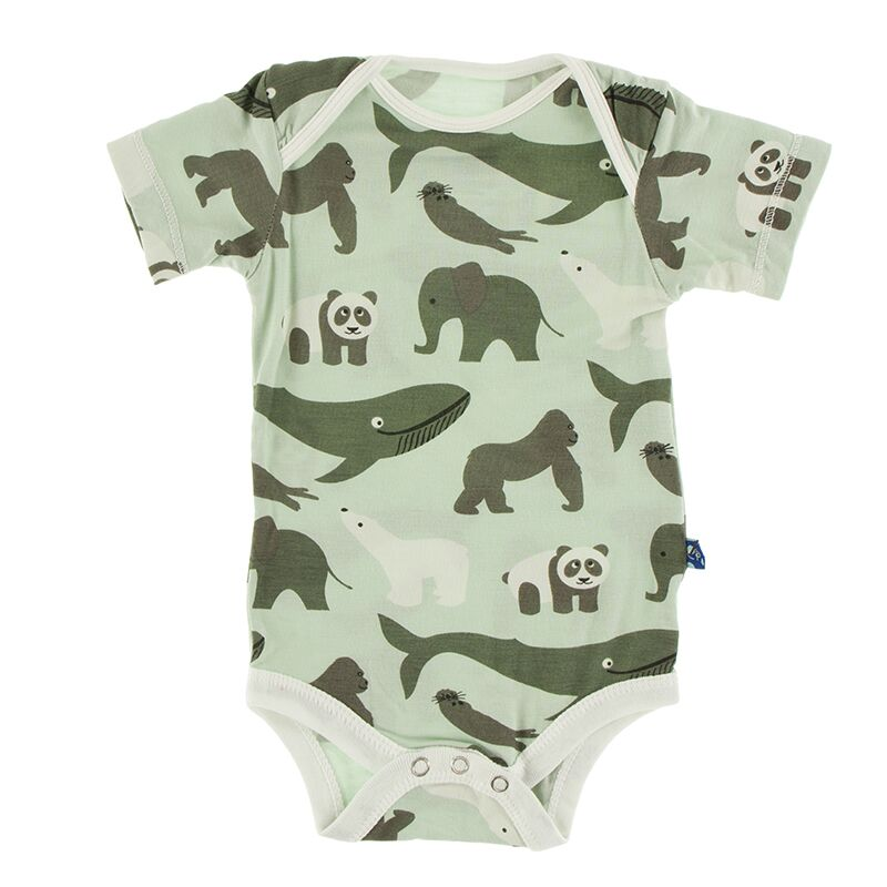 Kickee Pants Print Short Sleeve One Piece (Aloe Endangered Animals) Preorder