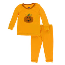 KicKee Pants Long Sleeve Applique Pajama Set - Tamarin Pumpkin