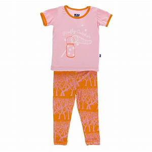 Kickee Pants Short Sleeve Pajama Set - Sunset Fireflies