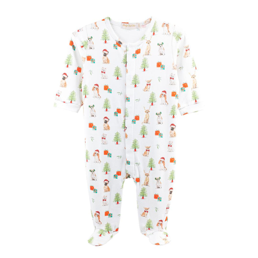 BABY CLUB CHIC PRINTED HAPPY CHRISTMAS ZIPPED FOOTIE