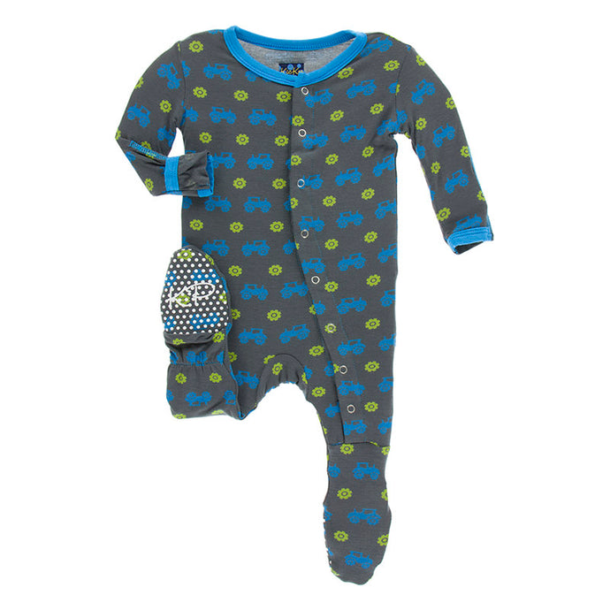 KicKee Pants Print Footie W/Snaps - Stone Tractor