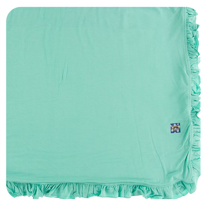 Kickee Pants Solid Ruffle Toddler Blanket (Glass - One Size) Preorder