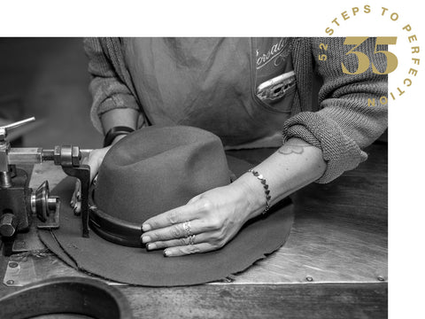 Fixing the brim size of a men's fedora hat from Borsalino.