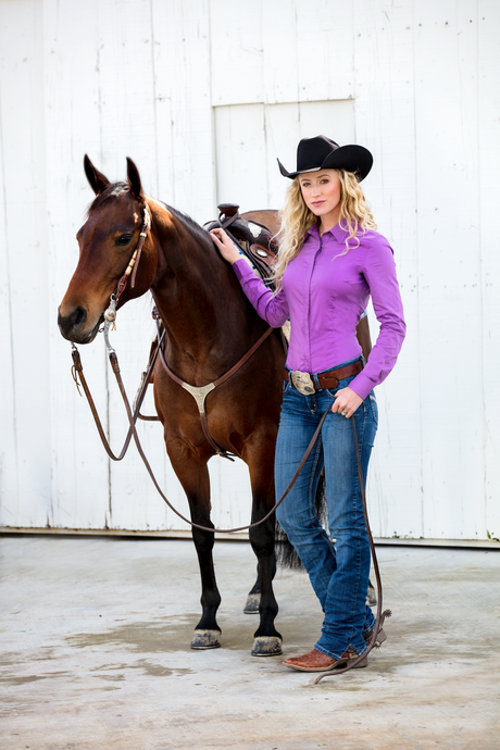 Women's Perfect Fit Western Show Shirt Purple Grape