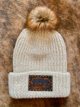 BRT Cream Beanie with Leather Patch