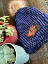 BRT Navy Beanie with Leather Patch