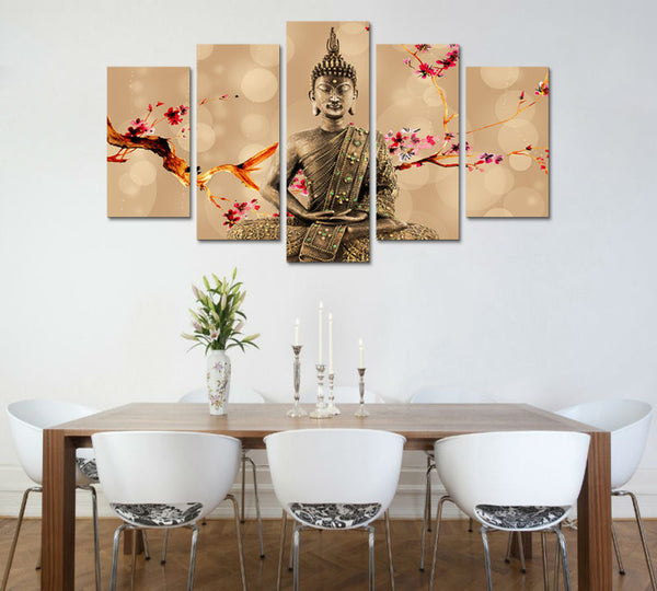 Canvas Wall Art - Buddha with Cherry Blossom