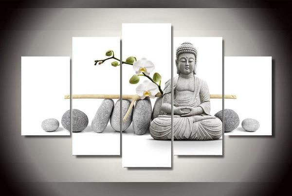 Canvas Wall Art - Buddha with Orchid