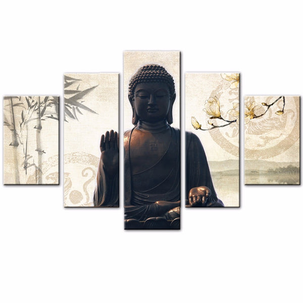 Canvas Wall Art - Buddha with Bamboo