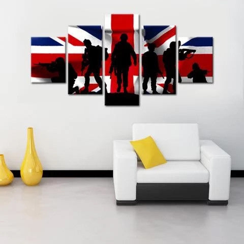 Canvas Wall Art - Soldiers on Flag