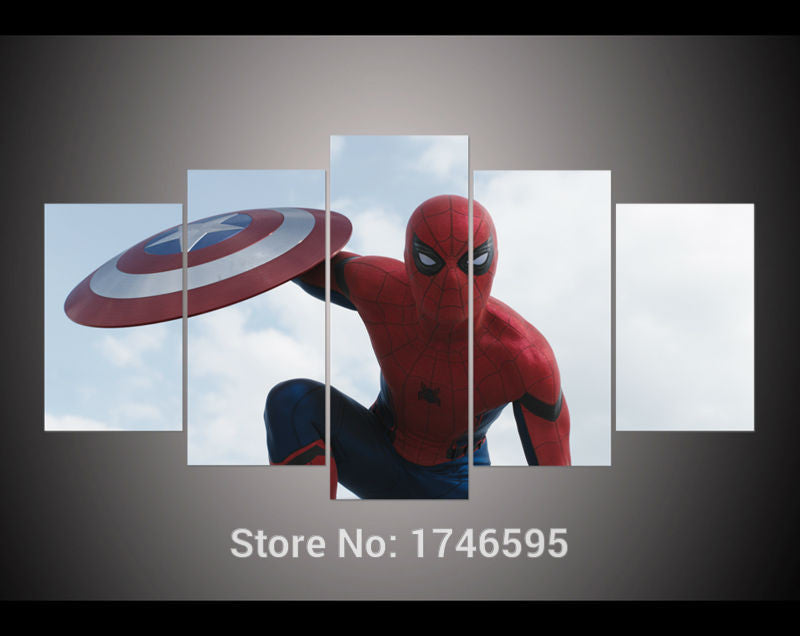 Canvas Wall Art - Spider Man with Shield