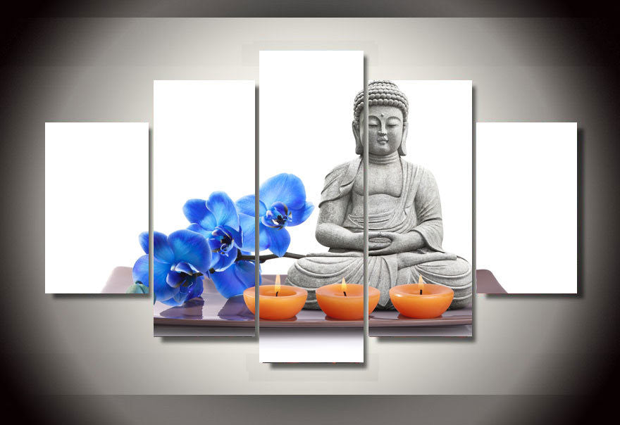 Canvas Wall Art - Buddha with Blue Orchid