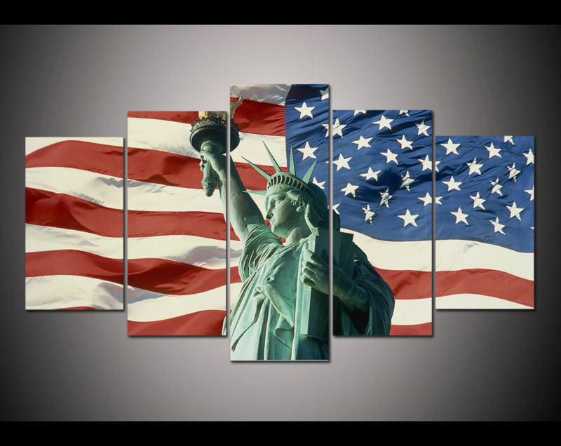 Canvas Wall Art - Statue Of Liberty on Flag