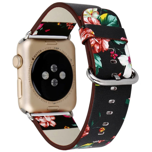 Apple Watch Floral Leather Strap