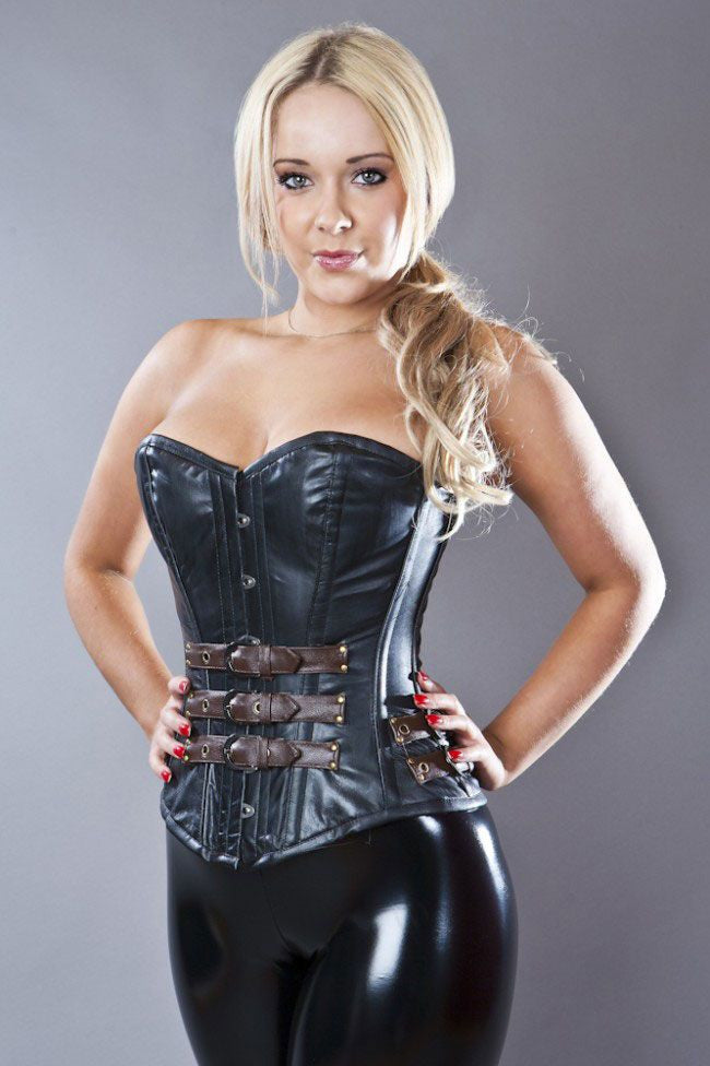 a321ed6c4 Real leather overbust steel boned corset in black   brown - Amour ...
