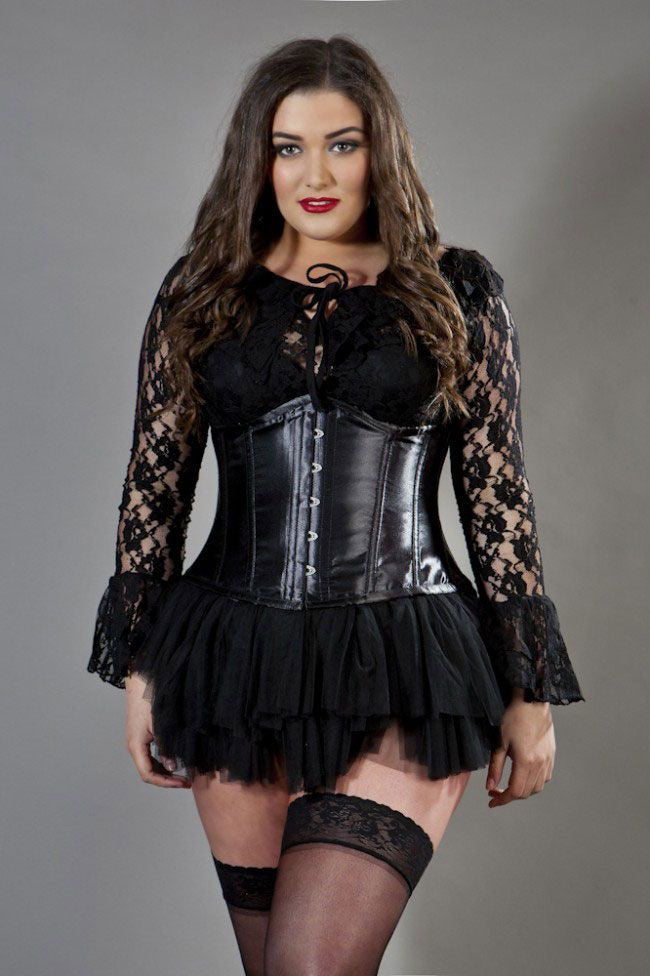 4672dec93b1 Plus size underbust waist training corset in black satin - Amour Corsets
