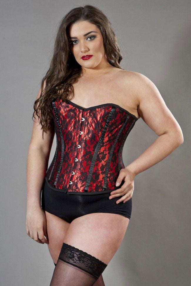 6b56aca297558 Elegant overbust plus size corset in red satin   black lace overla ...