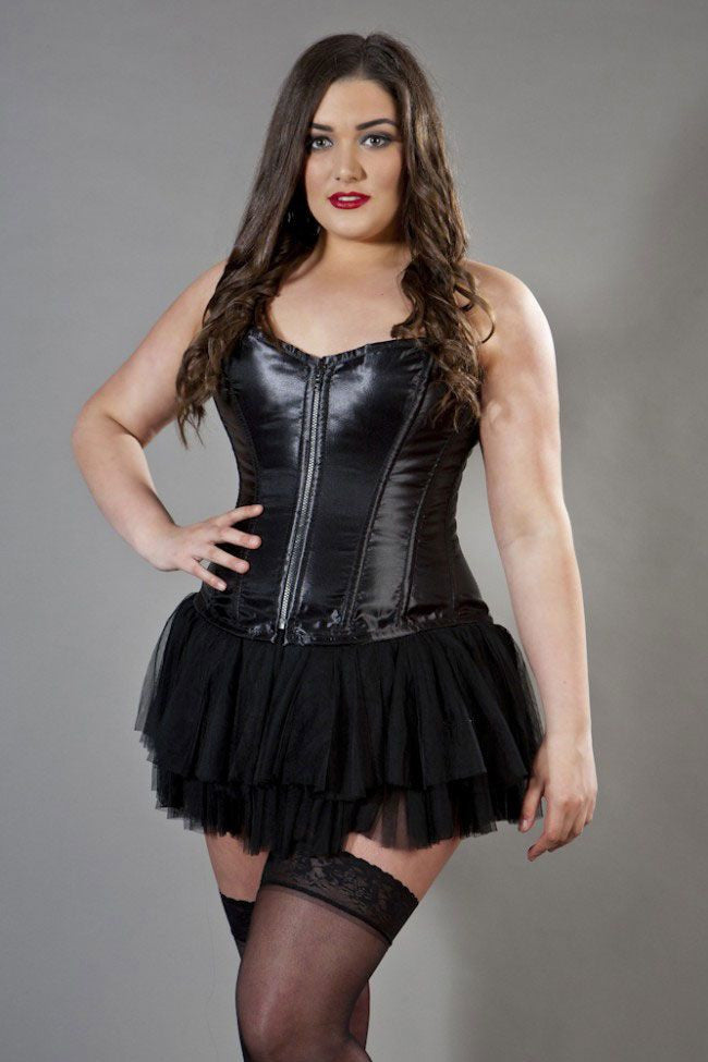 4d0cd44f19085 Glamour overbust plus size corset in black satin