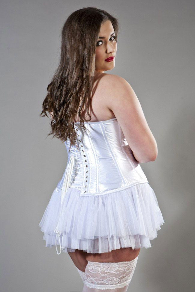 759e52bc636 Glamour overbust plus size corset in white satin - Amour Corsets