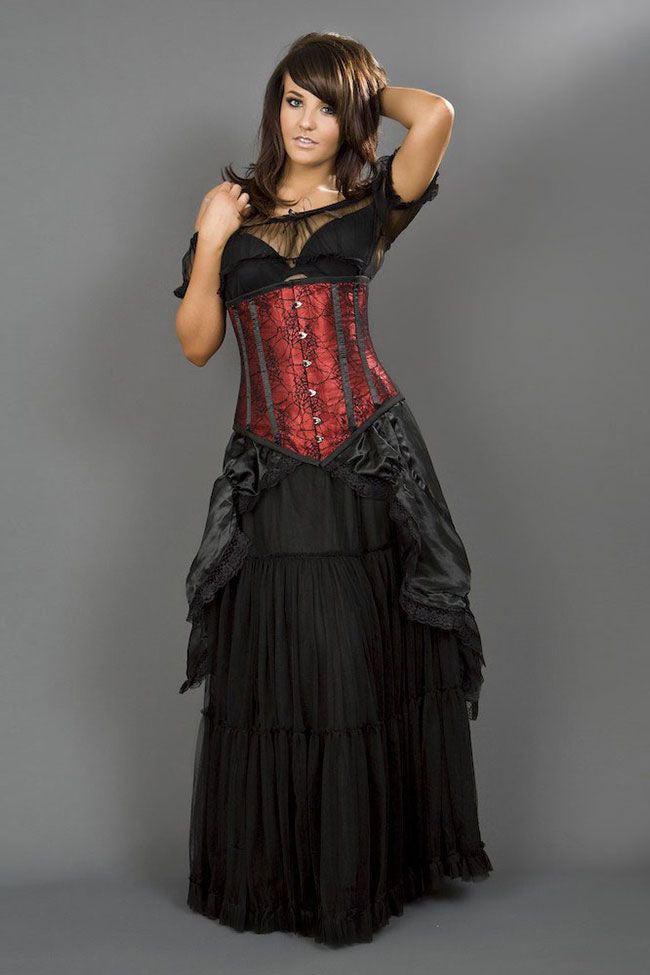 9989ec1876 Long line underbust steel boned corset in red satin   spider lace overlay