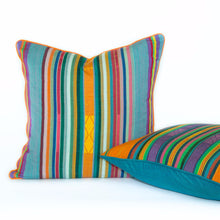 Handwoven Jewel Toned Stripe Pillow - Memento Style