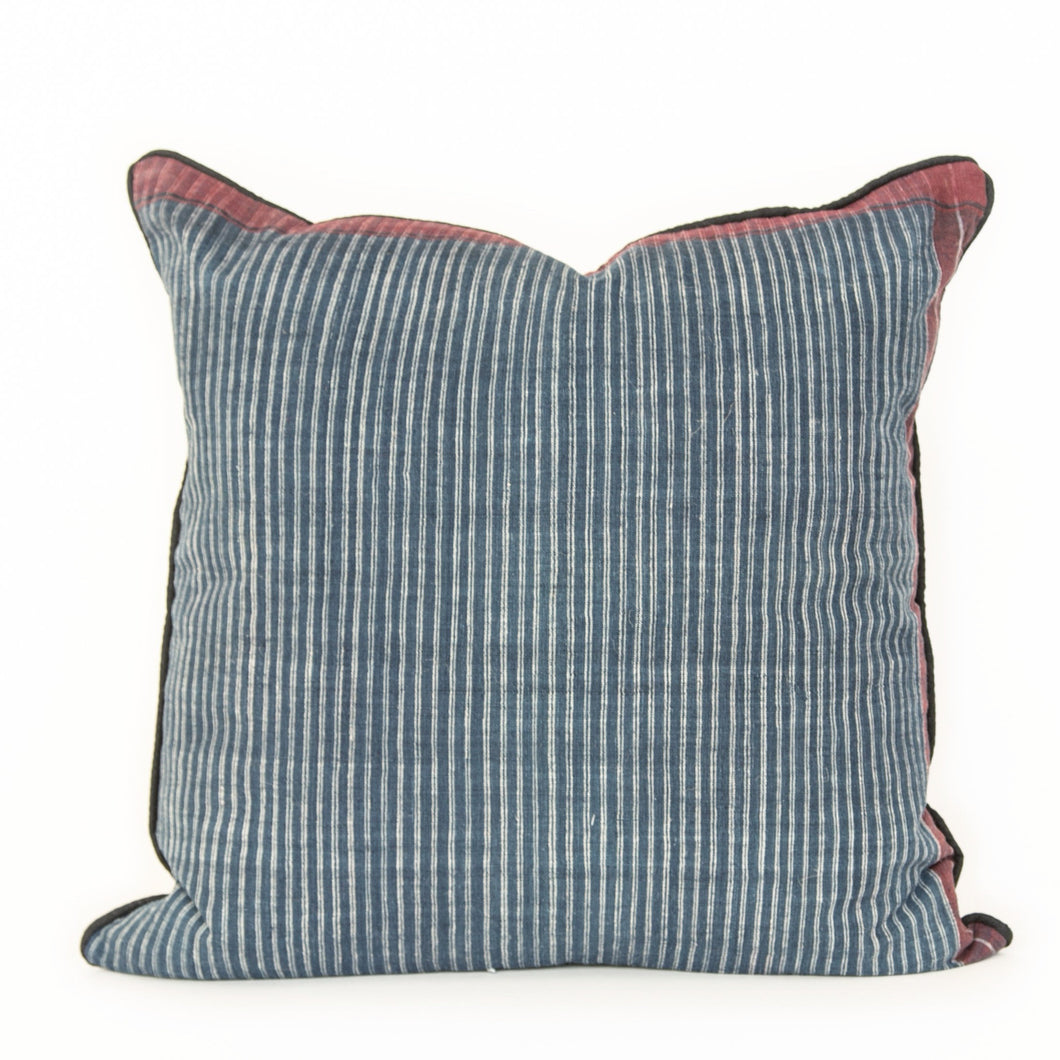 Indigo Natural Dye Stripe Pillow - Memento Style
