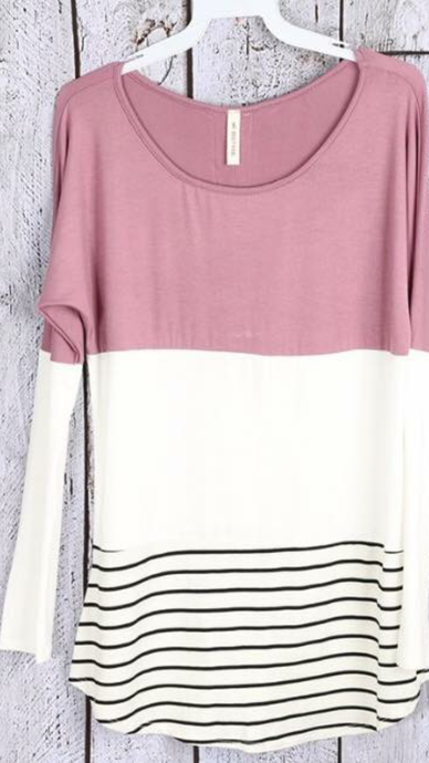 Stripe Long Sleeve Lace Top
