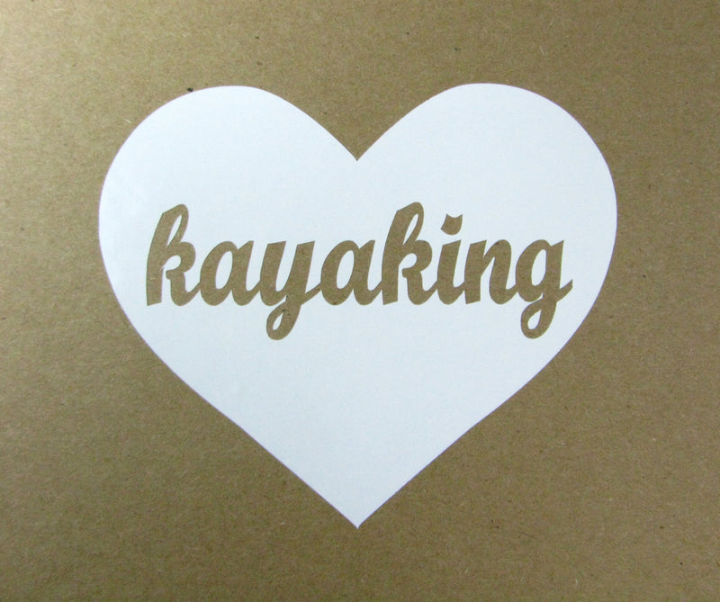 Kayaking Heart Vinyl Window Decal