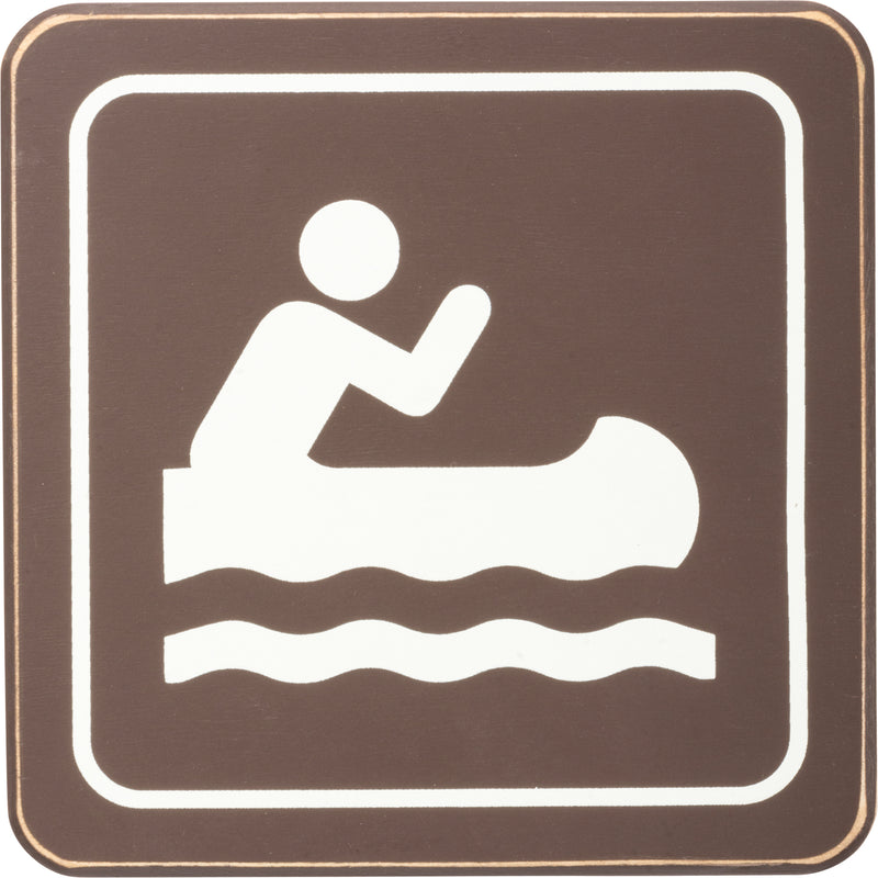 Wooden Canoe Access Sign