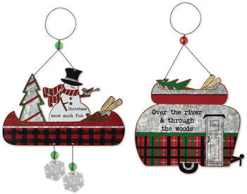 Winter Camper & Canoe Ornament