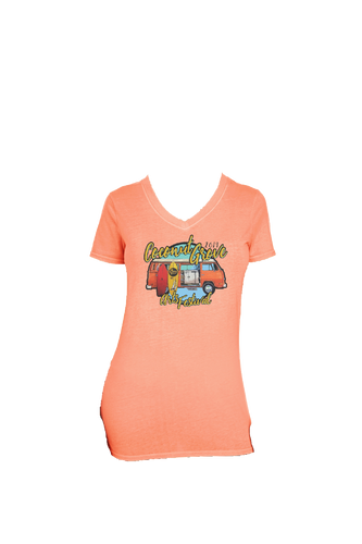 2019 CGAF Ladies V-neck in Tangerine