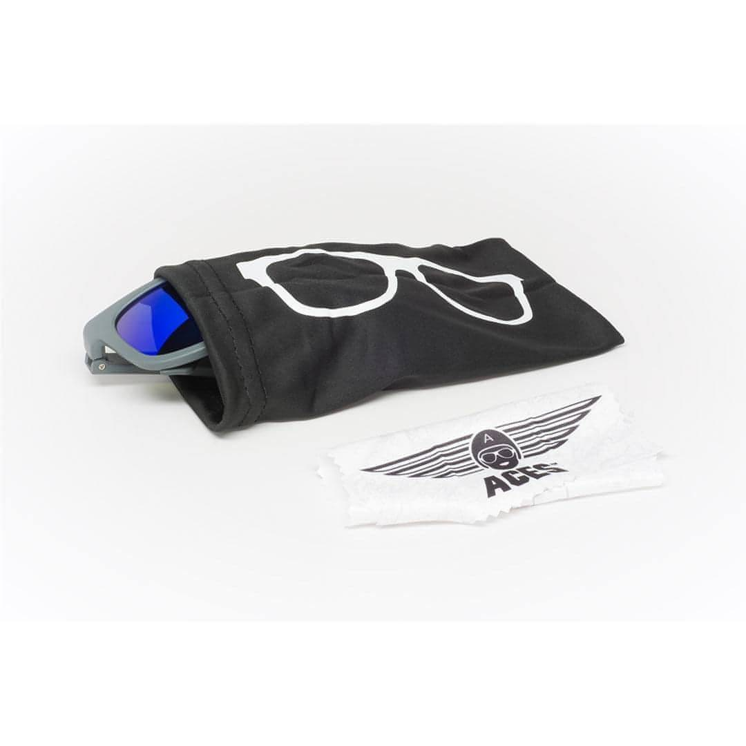 Babiators Aces Navigator - Galactic Gray with Blue Lens Pouch