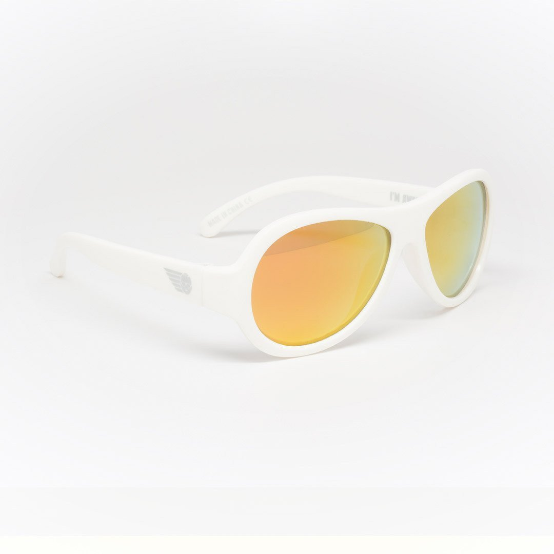 Babiators Polarized Aviator - Wicked White Side - Sunglasses - Natural Baby Shower