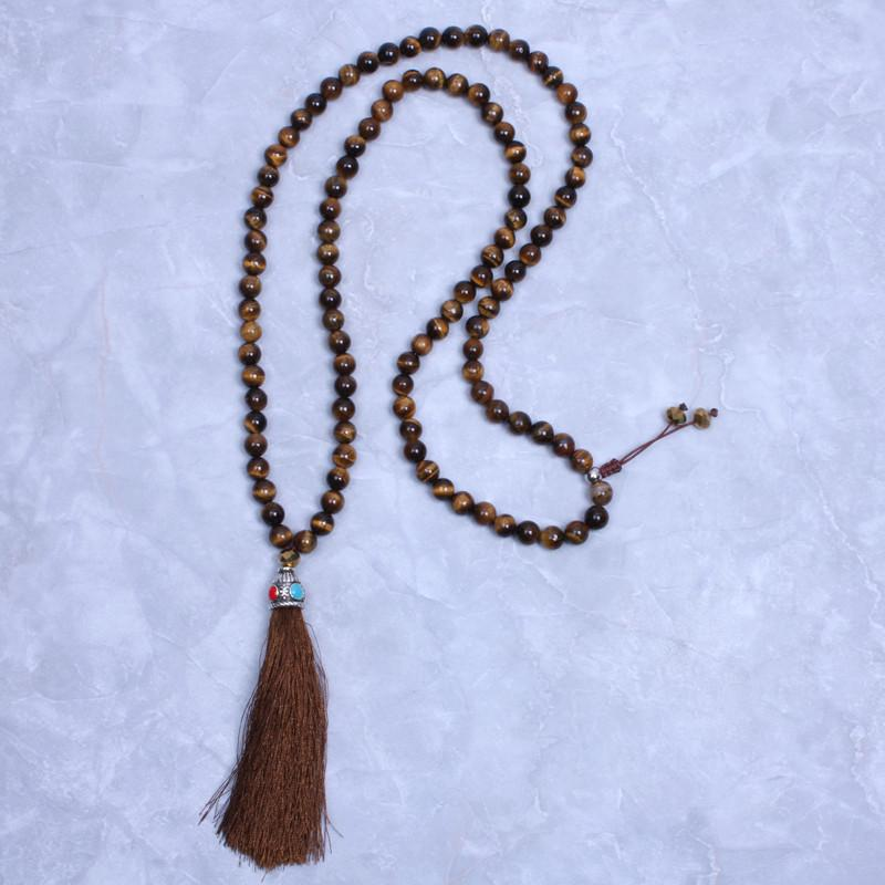 108 Tiger Eye Natural Stone Necklace With Tassel