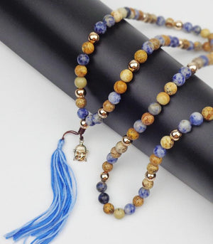 108 Buddha Head and Natural Stone Mala Pendant Necklaces Xin Xin Fashion JEWELRY