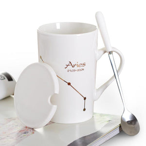 Zodiac Constellation Mug with Stainless Spoon Mugs LanBeiJia Official Store