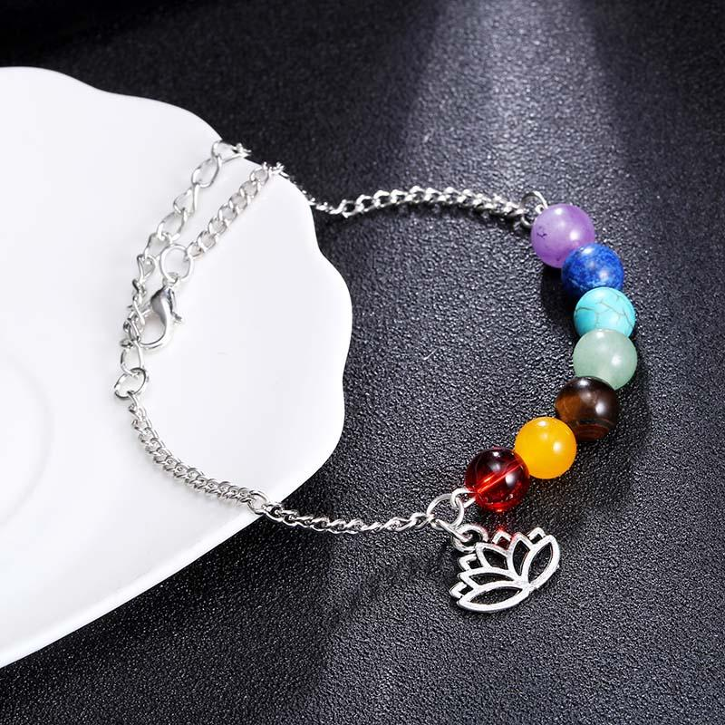 7 Chakra Lottus Charm Anklet Anklets Must to do our best-Cheap Wholesale Store
