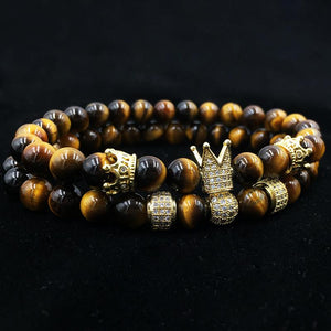 2 pcs Luxury Natural Tiger Eye Stone Bracelets NOROONI Store