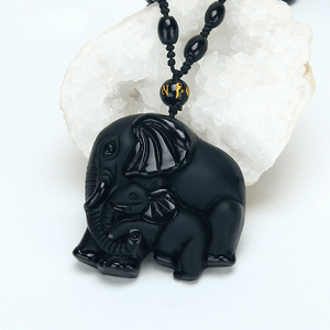 Natural Black Obsidian Carved Mother Elephant Necklace Pendants zenshopworld