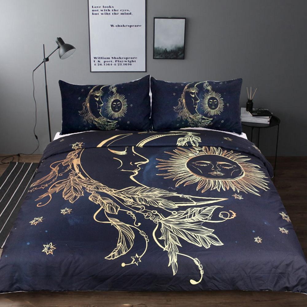 3pcs Set Sun And Moon Dream Duvet Cover With Pillowcase