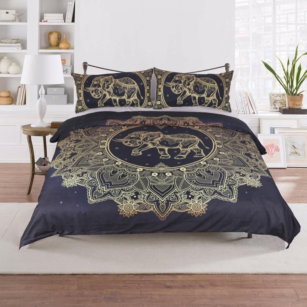 3PCS SET Bohemian Elephant Mandala Flowers DUVET COVER WITH PILLOWCASE COVERS Bedding Sets BeddingOutlet Official Store
