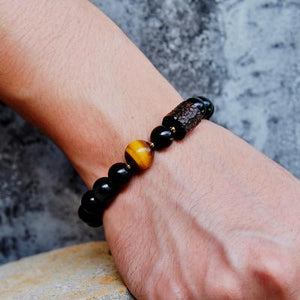 Black Obsidian and Tiger Eye Stone Bracelet Reikinn Store