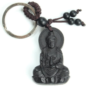 Traditional Ebony Wood Buddha Keychain Key Chains MOFRGO Store
