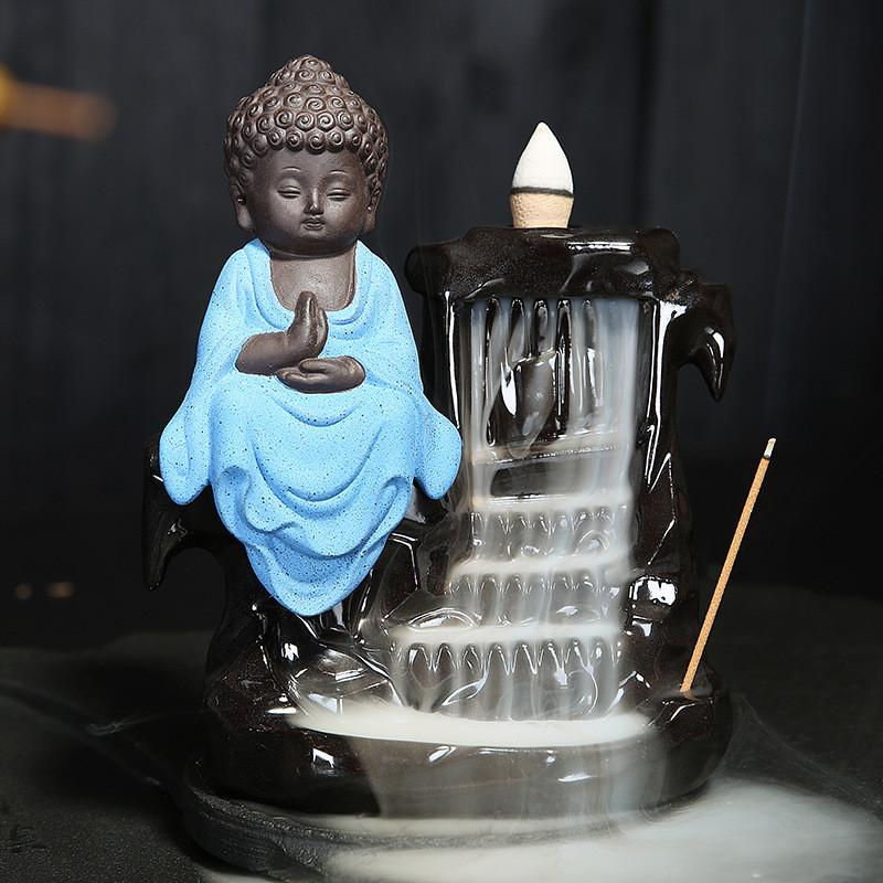 Calming Staggered Waterfall and Buddha Incense Burner TINYPRICE Store