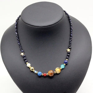 Galaxy and Solar System Natural Stone Necklace SPARK JEWELRY FACTORY