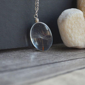 925 Sterling Silver Necklace with Real Dandelion Seed Pendant Necklaces XDesign