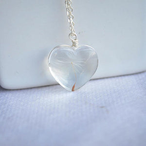 925 Sterling Silver Necklace Heart with Real Dandelion Seed Pendant Necklaces Zareate XDesign Store