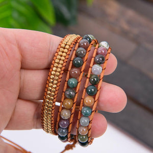 Triple Layer Natural Agate Leather Wrap Bracelet YGLINE Store