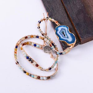 Natural Lapis and Agate Stone Leather Wrap Bracelet YGLINE Store